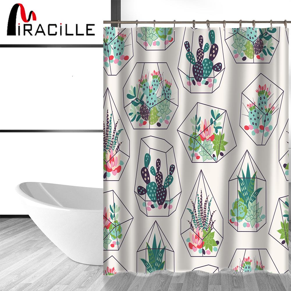 2019 Miracille Green Potted Plants Cactus Succulents Print Shower Curtain Polyester Waterproof Bathroom With Fabric 12 Hooks From Caley