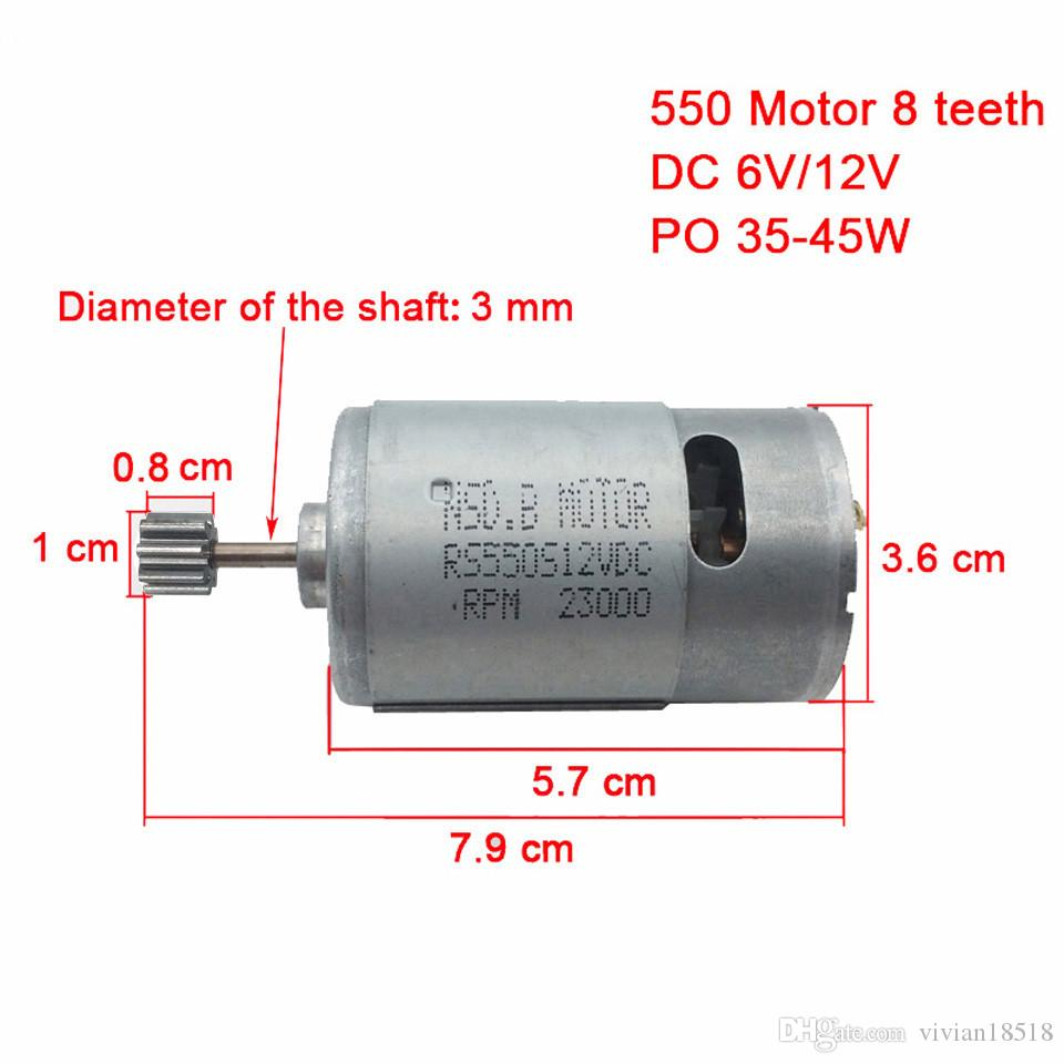 Dc motor 12v for children electric car,rc car dc engine 6v, baby car electric engine, rs550 motor with 12 teeth and 8 teeth gear