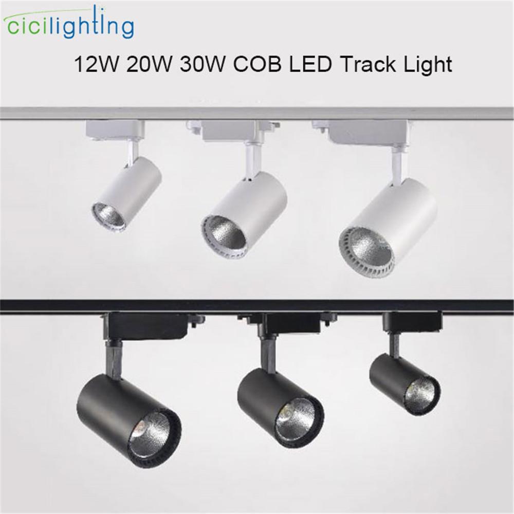 Modern led track light 12w 20w 30w 220v clothing shop windows showrooms exhibition spotlight cob led ceiling rail spot lamp