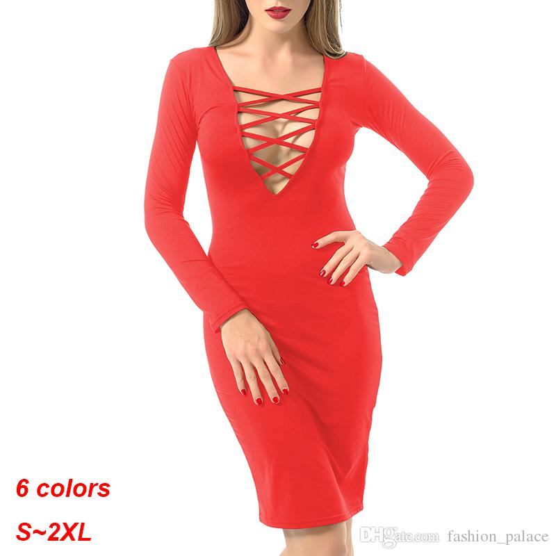 3de0e8c76d 2019 Women S Sexy Long Sleeve Deep V Neck Bodycon Midi Party Evening Dresses  Lace Up Bandage Cocktail Dress DZF0301 From Fashion palace