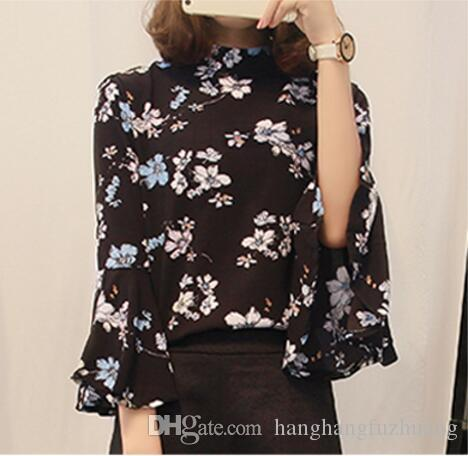 2019 Autumn Floral Chiffon Blouse Women Tops Flare Sleeve Shirt Women  Ladies Office Blouse Korean Fashion Blusas Chemise Femme From  Hanghangfuzhuang 83c2803d1