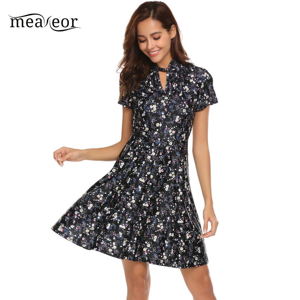 1fb85afe0d63 Meaneor Vintage Mock Neck Flower Print Dress Women 2018 Spring ...