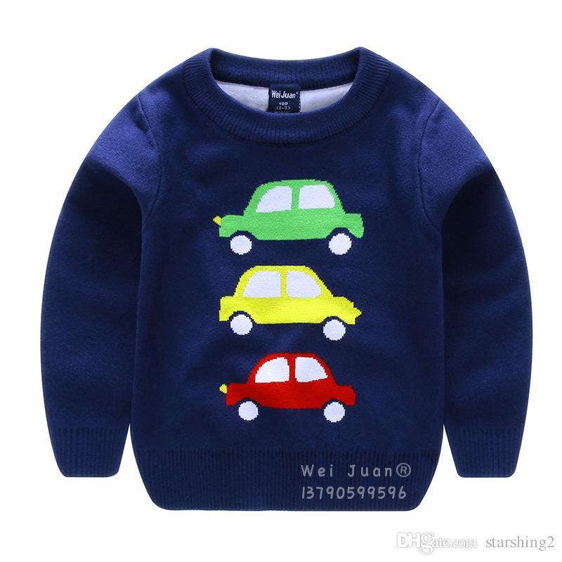 3d8db344e2b0 Children s Spring Sweaters Boys Cartoon Cars Long Sleeves Sweater ...