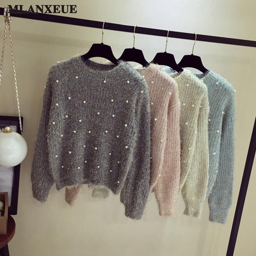 Compre 2018 Pearl Sweater Moda Mujer Corea O Cuello Suéter Casual Manga  Larga Jerseys Cálidos Tops Gris Negro Color Sección Corta S18100902 A  21.1  Del ... 285260bd7bd5