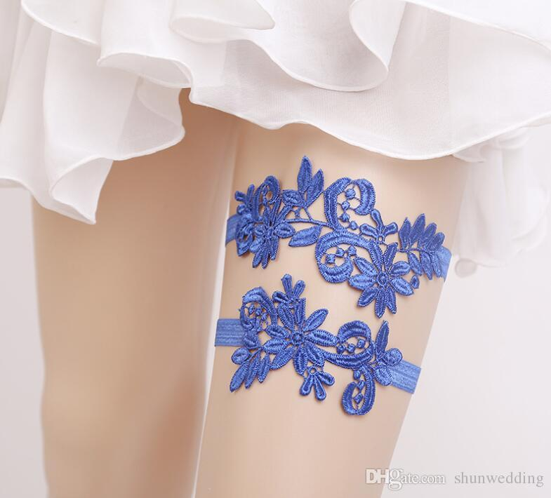 New Thigh Ring Leg garter Wedding Garters White/Blue Lace Embroidery Flower Sexy Garters set for Women/Bride