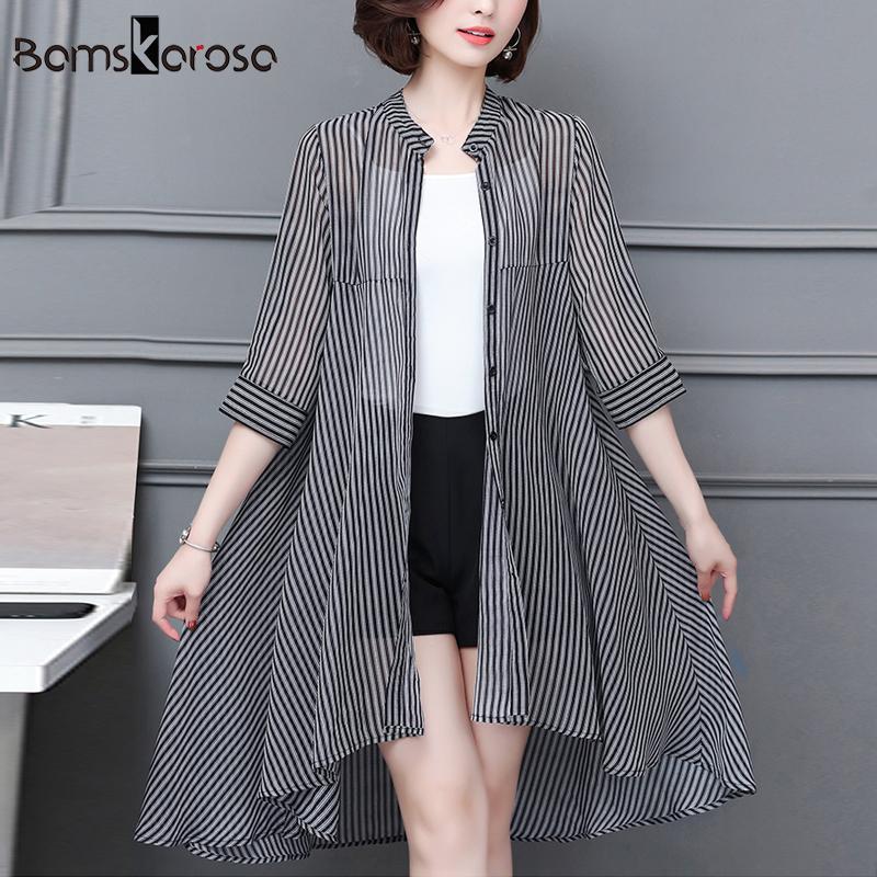 a0286ebf63 2019 Plus Size Kimono Cardigan Women Blouses Chiffon Vertical Striped Long Shirt  Women Summer Mujer De Moda 2018 Casual Blusa XXXL From Seein