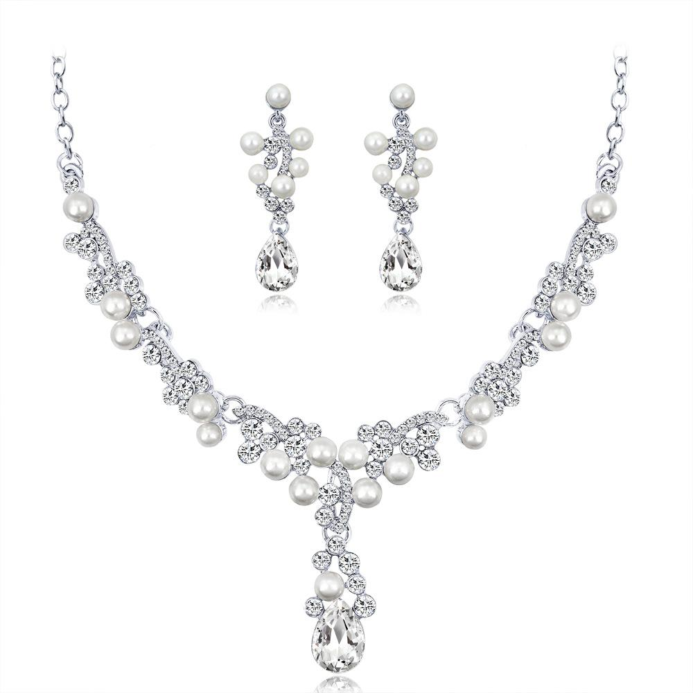 5ad10b569 Elegant Prom Jewelry Sets Women Pearl Necklace Earrings Sets Gifts Wedding  Bridal Party Jewelry Sets High Quality Valentine'S Day Gifts 2018 Diamonds  Cheap ...