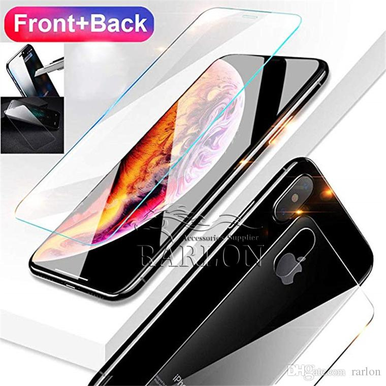 Front and Back Rear Tempered Glass For New IPhone XR XS MAX X 10 8 Plus Screen Protector Protective Film Transparent Without Package