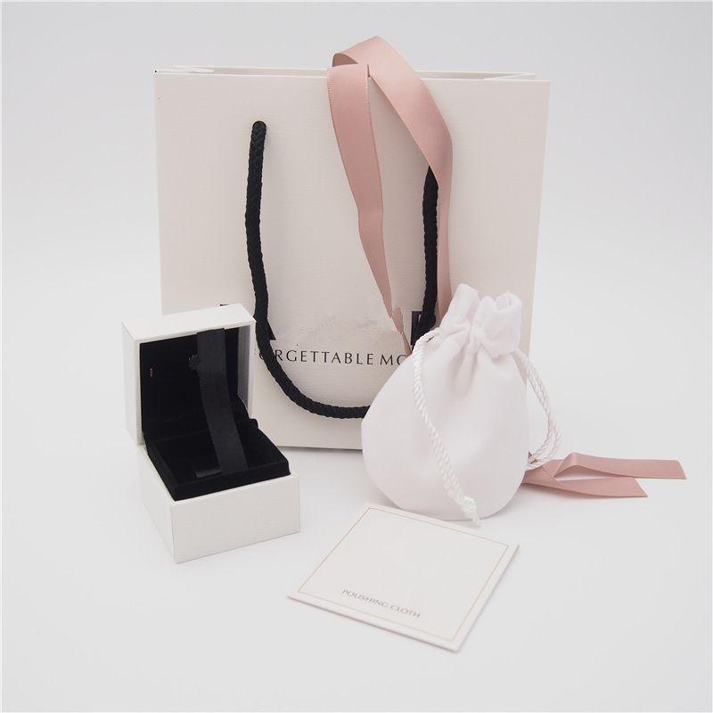 Paquete de alta calidad conjunto caja de papel bolsa de cartón estilo 2 bolsa de tela de pulido para Pandora anillo pendientes encanto grano cuelga joyería de moda