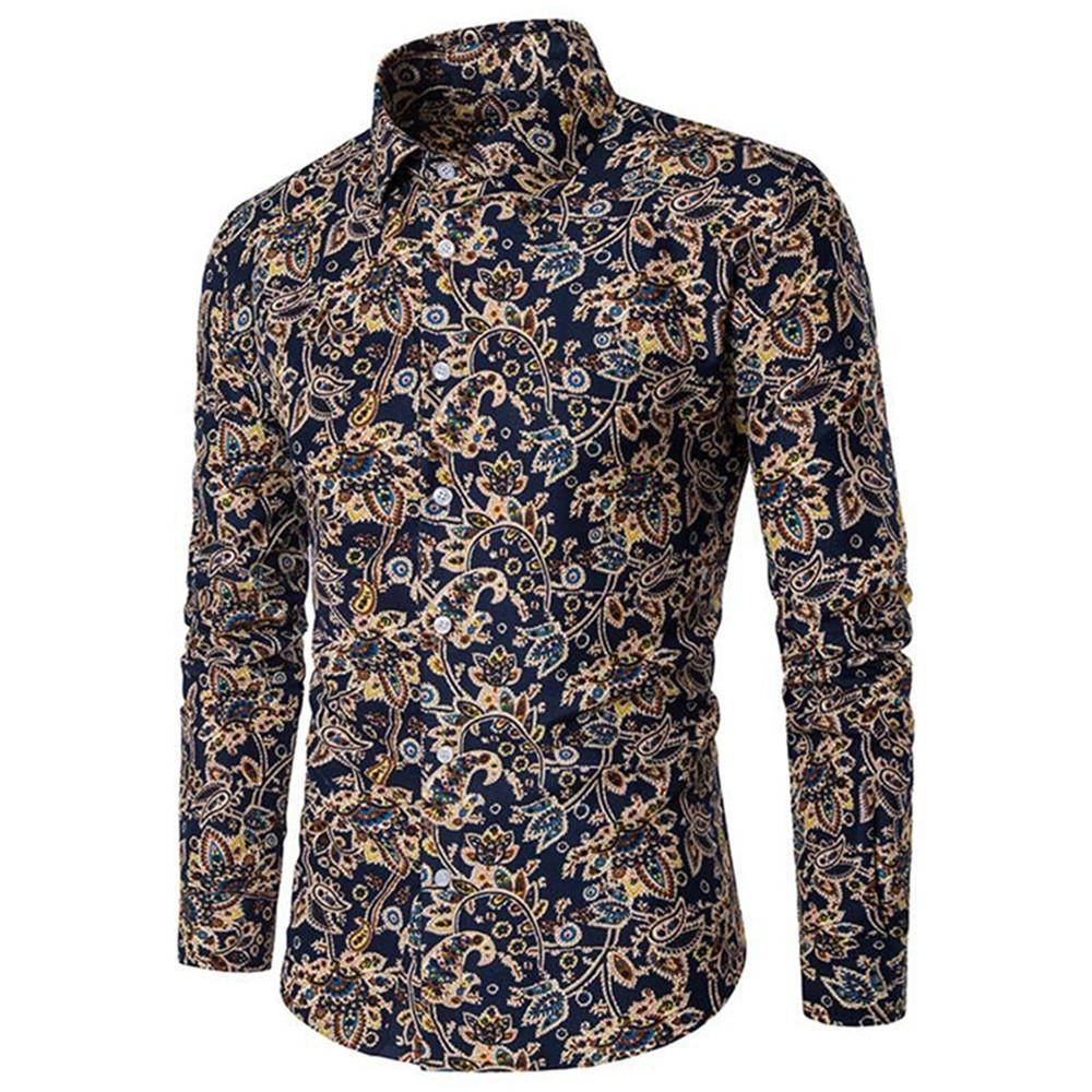 15f710f5722 Compre Blusa De Hombre De Impresión Vintage Moda Clásica Camisas Estampadas  Florales Ropa De Primavera Camisa De Manga Larga Hombre Blusa Estilo Retro  De ...