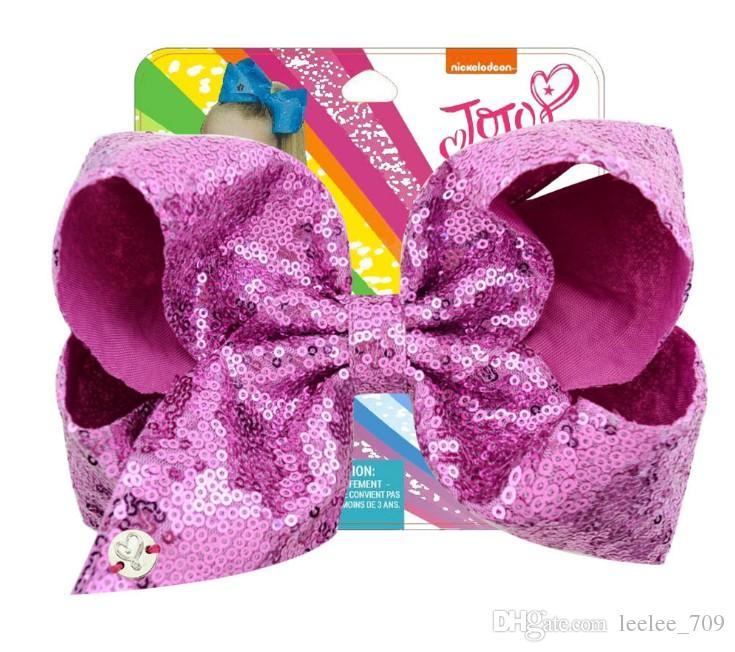 8 pouces strass imprimé floral cheveux Bows Jojo Bows avec clip pour bébé Enfants Grand Sequin Bow licorne cheveux Bows sirène pince à cheveux