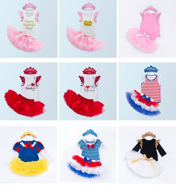 746bd35cf7b6e Baby Girl bodysuit set Short Sleeve romper tops princess Tutu Skirt crown  Headband 3PCS Outfit baby birthday suits Set flower skirt