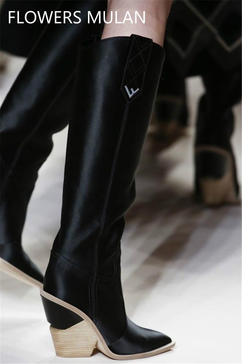 50409cd01e8d Großhandel Spitz Mode Designer Seltsame High Heels Echtes Leder Frauen  Schuhe 2018 Neue Herbst Winter Stiefel Runways Lange Boots35 42 Von  Xiangyu521, ...