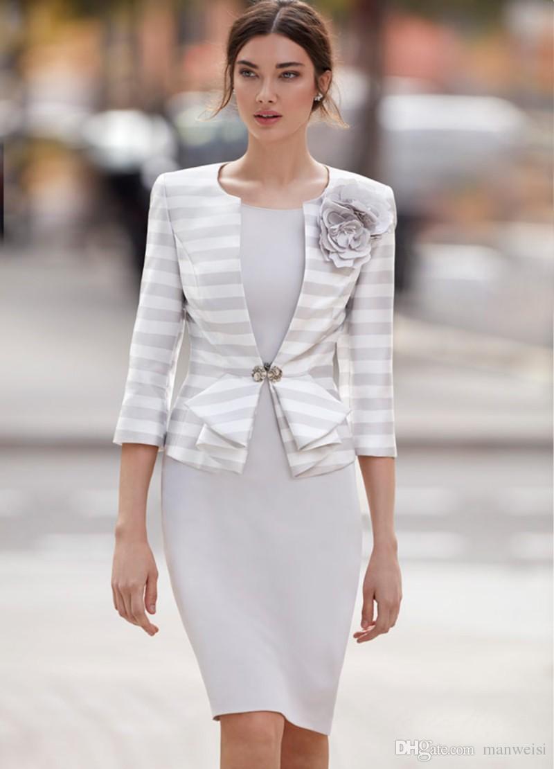 Carla Ruiz 2018 Elegante Mutter der Brautkleider mit Jacke Mantel Knielange Hochzeit Gastkleid Arabisch Blume Kleid Abendkleidung