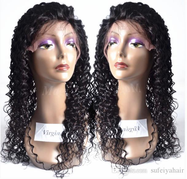 New Arrive Human Virgin Remy Brazilian Hair Lace Front Kinky Curly Wigs Natural Black Color Soft Baby Hair Full Head