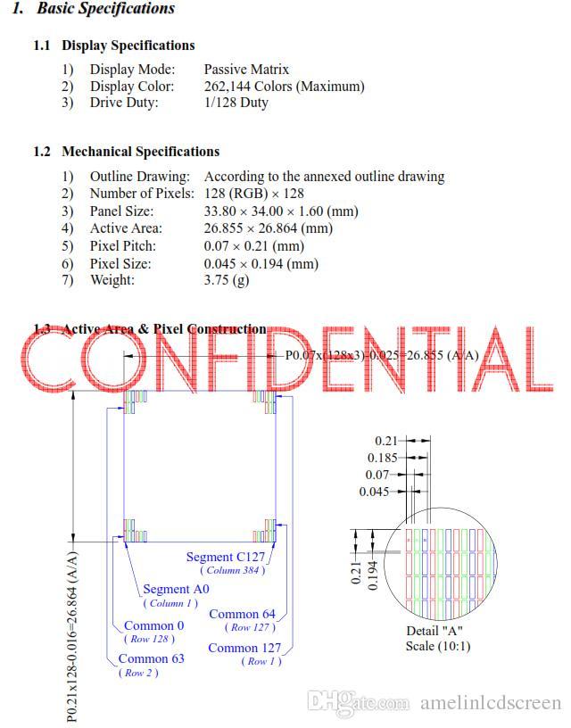 Shenzhen amelin LCD panel üretimi kare amoled ekran ile 1.5 inç 128 * 128 çözünürlük küçük OLED ekran