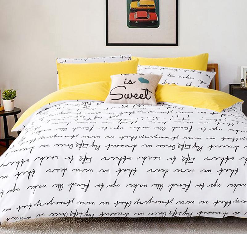 letter printing bedding sets duvet cover set bed linen ru usa sizequilt cover bed sheet set bedding duvet white black fieldcrest bedding black comforter - Fieldcrest Bedding