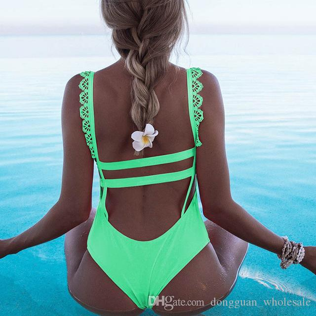 218e91c344f8f 2019 One Piece Swimsuit 2019 Sexy Lace Side Shoulder Swimwear Women Halter  Push Up Bathing Suits Beach Wear Swimming Suit For Girls From  Dongguan wholesale