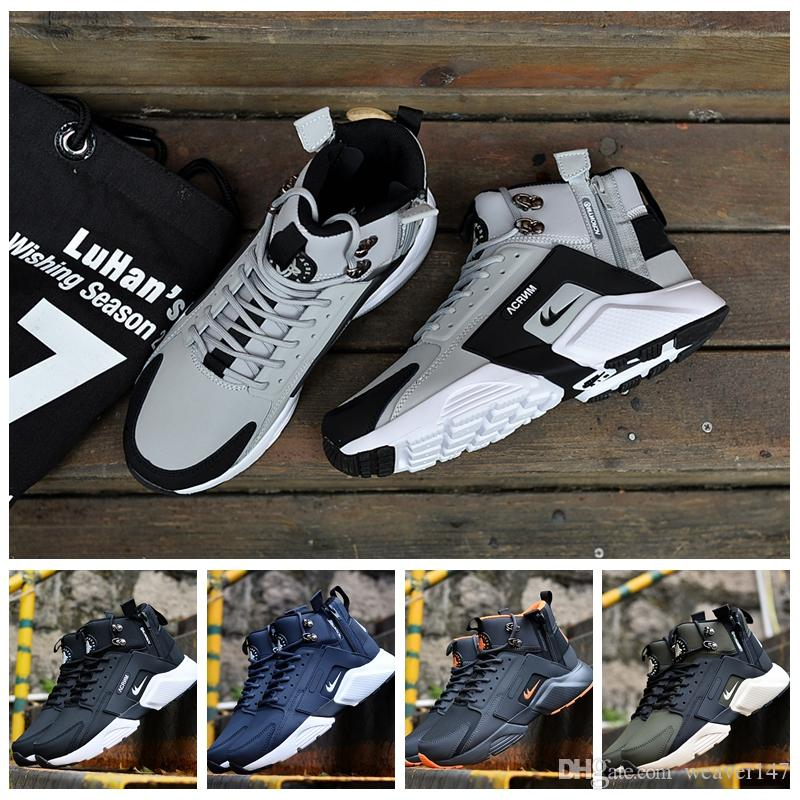 ae8b7b33a7a7 2017 New Arrival Huarache X Acronym City MID Leather Running Shoes Men High  Quality Air Huarache 6 Green Outdoors Sports Huaraches Shoes Shoe Shopping  ...