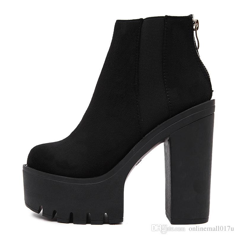 4b9be10a63325 Compre Botas De Tobillo Negro De Moda Para Mujer Tacones Gruesos 2018  Zapatos De Plataforma De Otoño Nuevo Rebaba Tacones Altos Botas De Mujer  Negro ...