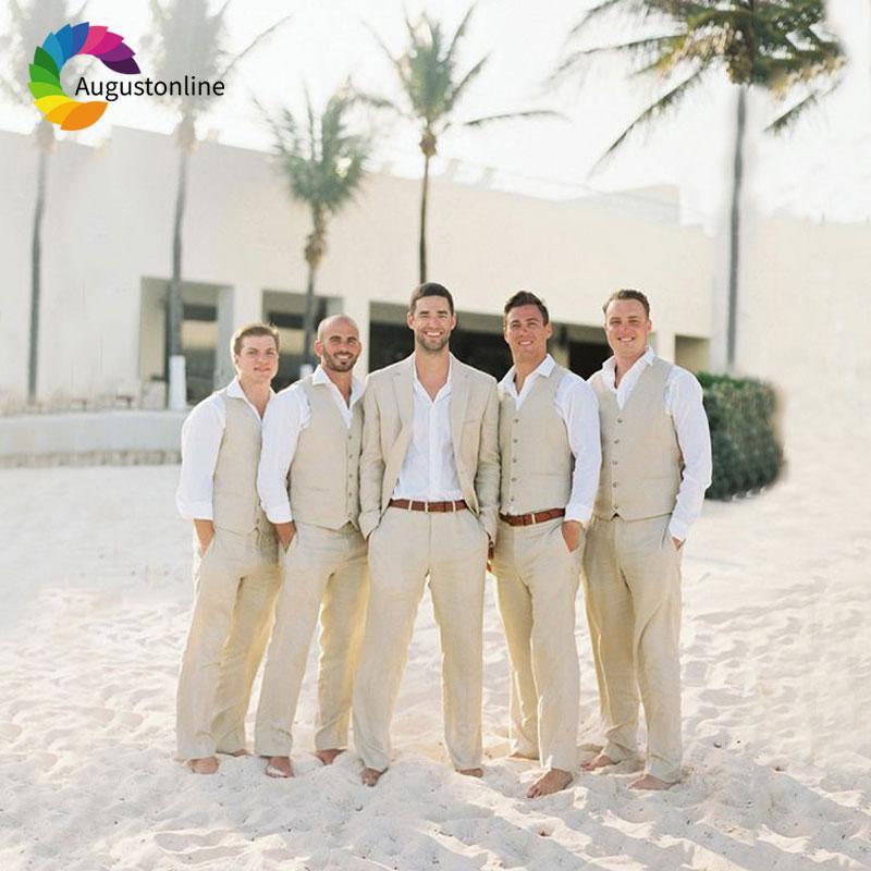 2019 Beach Wedding Beige Linen Mens Wedding Suits Men S Classic