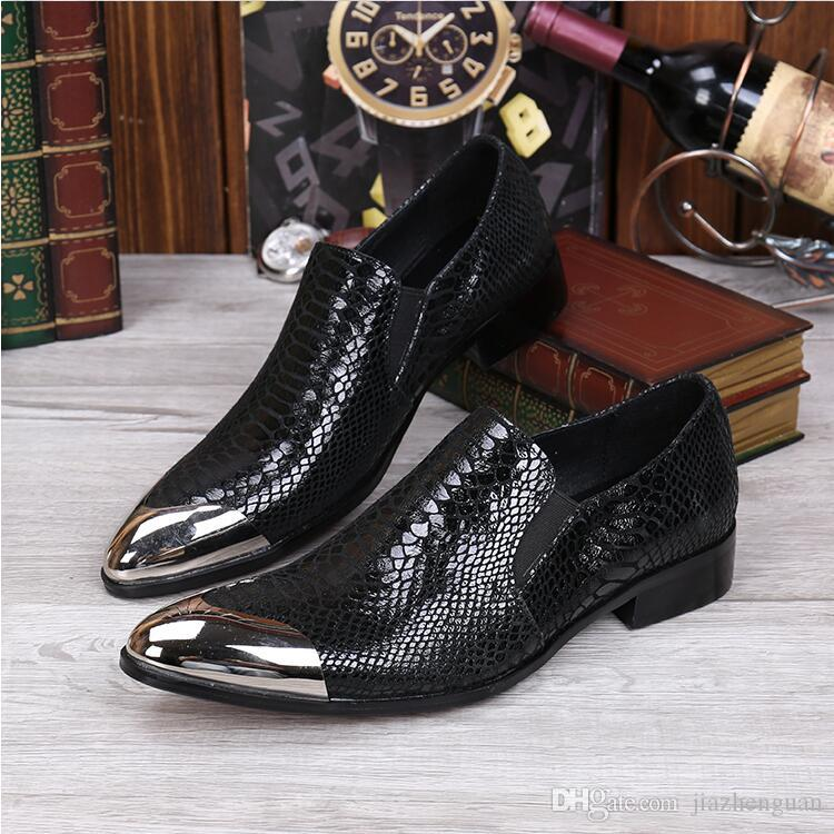 2017 New style Brand crocodile style mens leather shoes formal gold metal toe Loafers Italian fashion design wedding men shoes M444