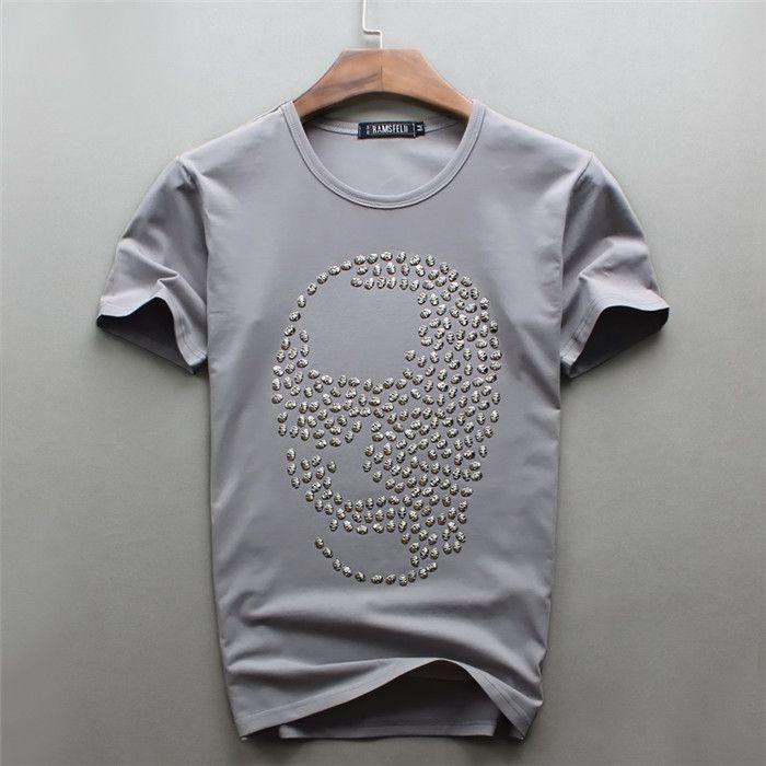 Hotsale Men's Pink Color skull diamond design Short T-shirts Casual Cotton short sleeve T Shirts Brand Grey o-neck hip hop tops
