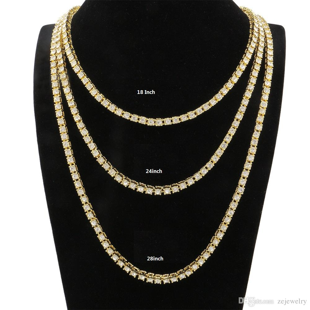 db46006fa329e Hot sale fashion ice out mens tennis chain necklace with 5mm cz prong paved  for men hip hop jewelry