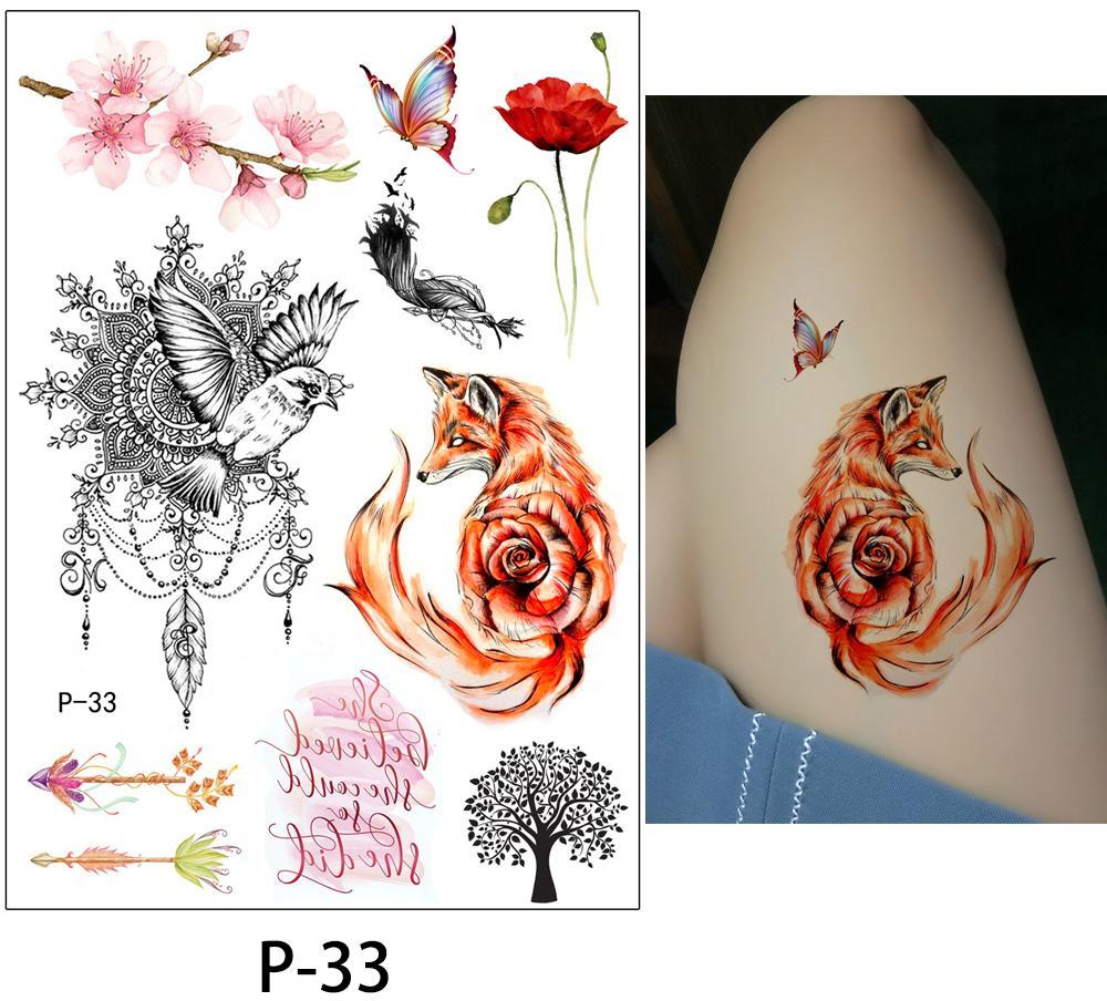fleur oiseau décalque faux femmes hommes bricolage henné body art conception de tatouage papillon branche d'arbre vif autocollant de tatouage temporaire