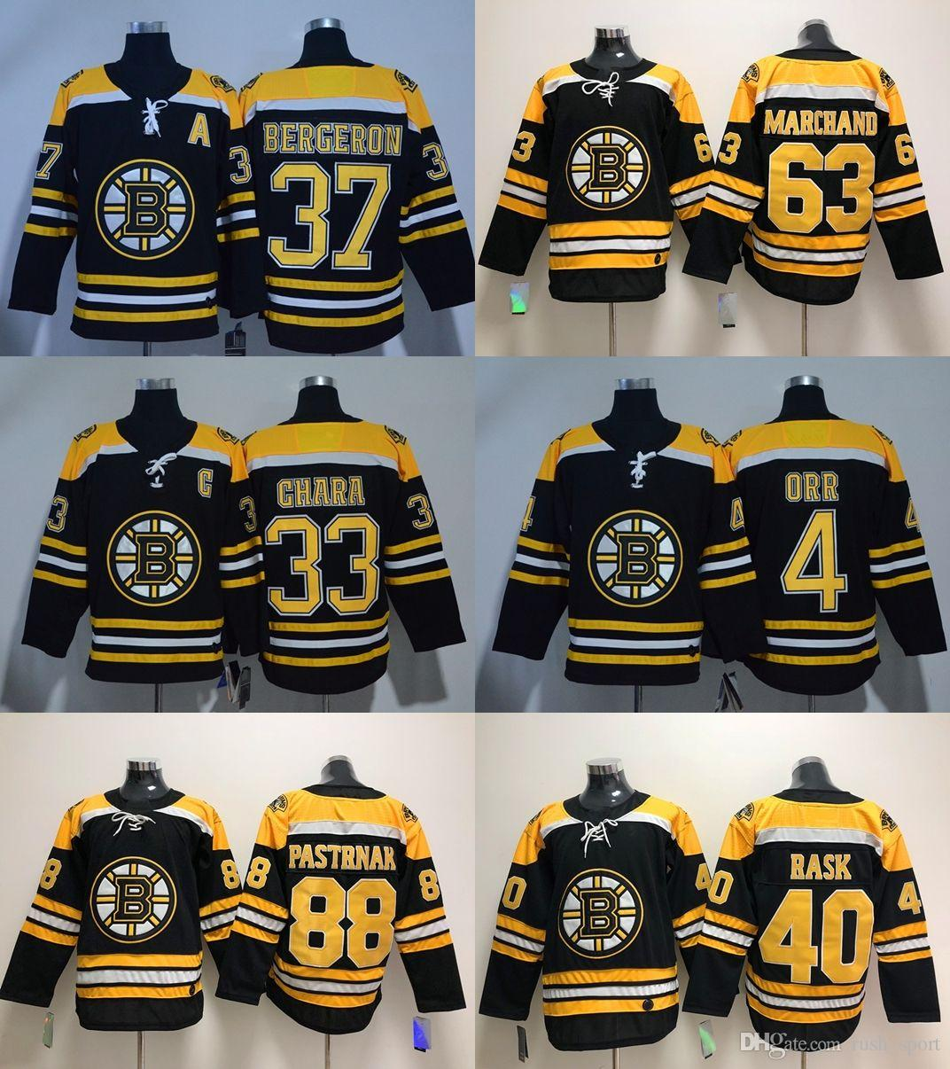 2018 2018 Season Ad Boston Bruins Cheap Hockey Jerseys Bergeron 37 Chara 33  Marchand 63 Orr 4 Rask 40 Bourque 77 Pastrnak 88 Home Black From  Rush sport 4ca33acc1