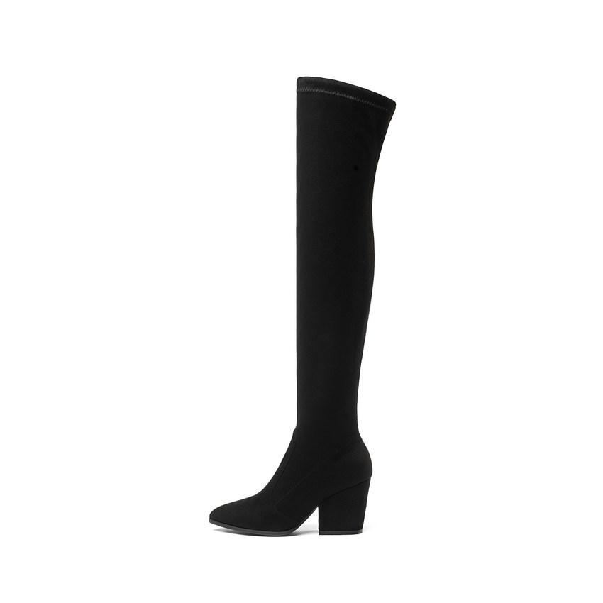 2018 Damens Over The Knee High High Knee Stiefel Hoof Heels Winter Schuhes Pointed fd820f
