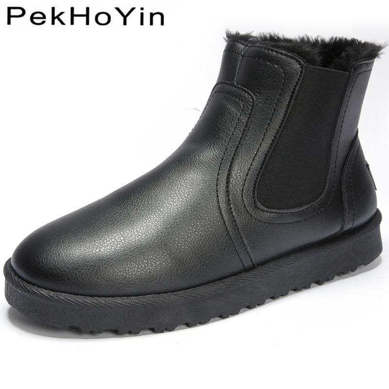 Hohe Qualität Marke Winter Warm Leder Männer Stiefel Schuhe Dicke Sohle Plattform Männlichen Schnee Schuhe Jungen Gummi Kurze Stiefeletten Outdoor