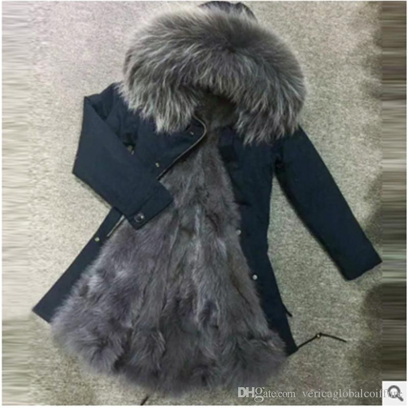 bf32ce5fa7c 2018 Meifng S 4XLM002 Long European & American Couple Models Grey Raccoon  Fur Collar Fox Fur Liner Dark Blue Shell Long Coat From  Vericaglobalcoiffure, ...