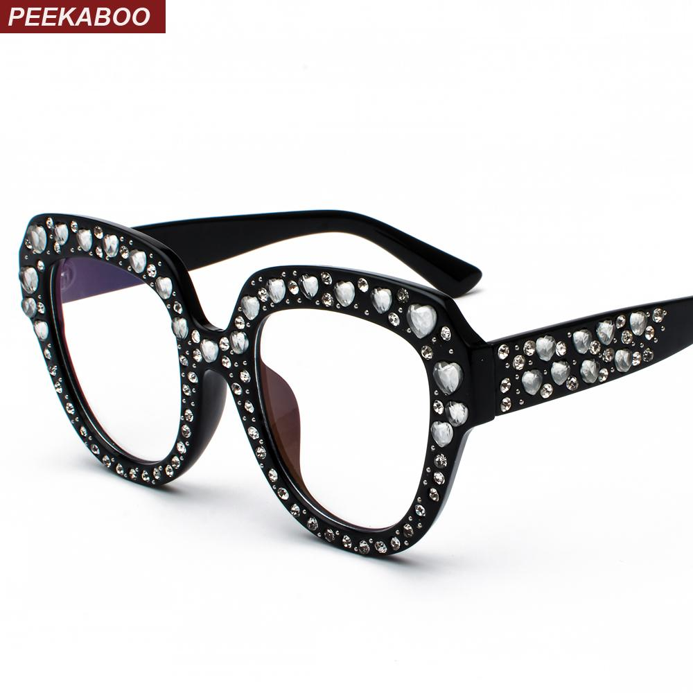 80576910189 Peekaboo clear lens oversized glasses frames female gift jpg 1000x1000  Womens eyeglass frames with bling