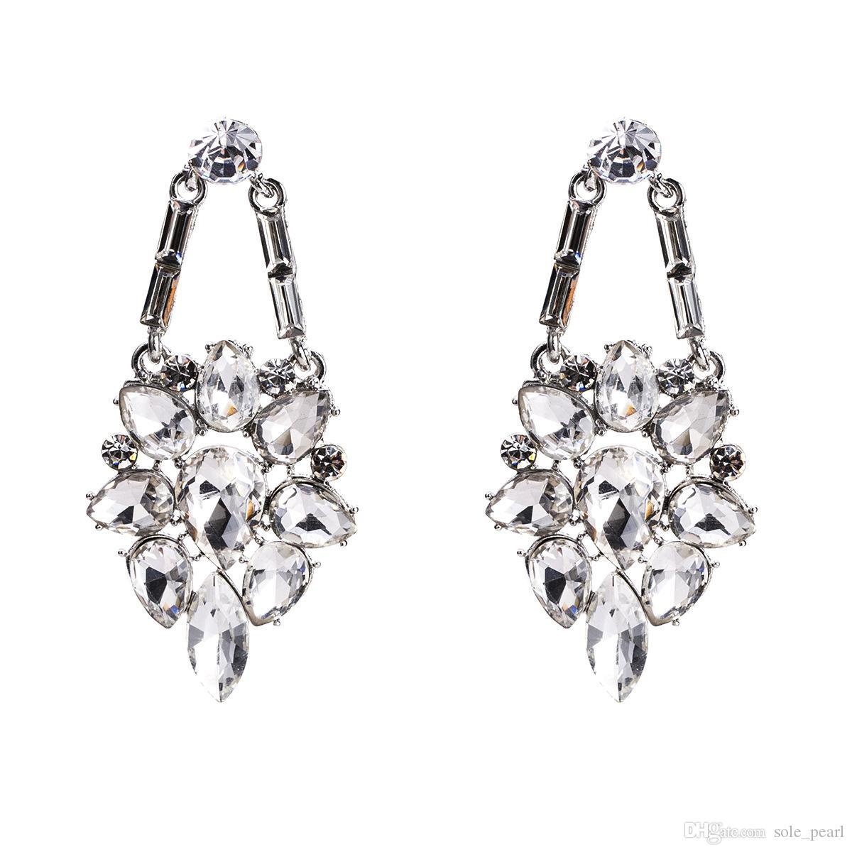 Gland goutte boucles d'oreilles pour les femmes Boho de luxe personnalité Forage de verre Dangle boucles d'oreilles simple Vintage géométrique mode bijoux en gros 2018