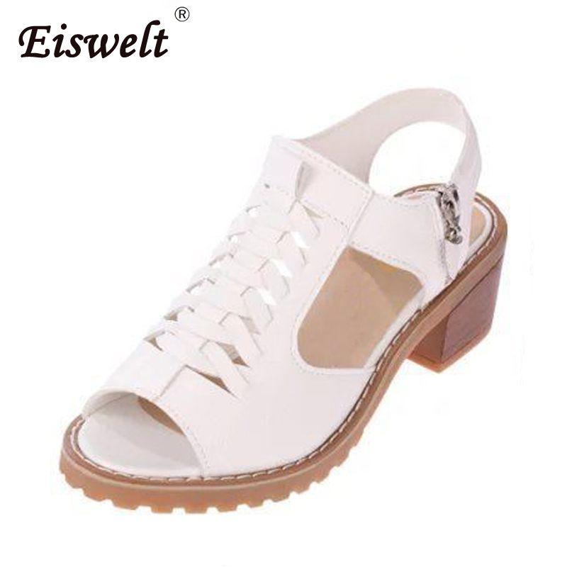 f1f34beec8b2b EISWELT Vintage Elegant Mid Square Heel Women s Sandals Summer Style Peep  Toe Cross Tied Side Zip Design Shoes Woman#ZQS015