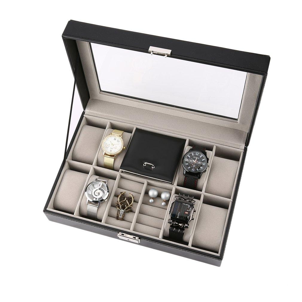 2 In One 8 Grids 3 Mixed Grids Black Leather Jewelry Ring Watch Box Case Jewelry Storage Box holder Luxury Casket Display