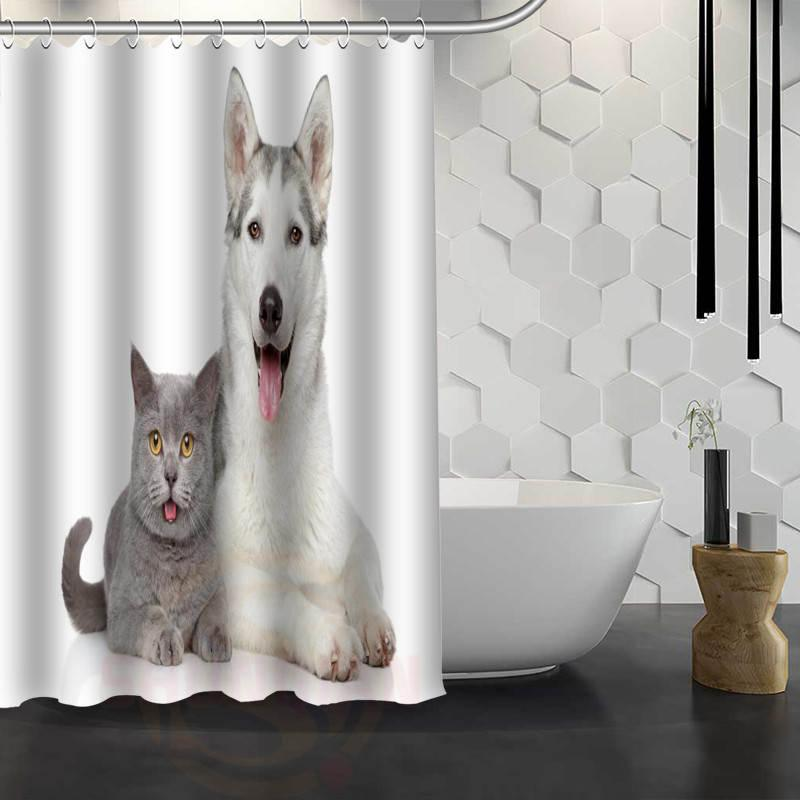 2019 Hot Sale Custom Dog And Cat Shower Curtain Waterproof Fabric Bath For Bathroom FY1 17 From Hariold 2928