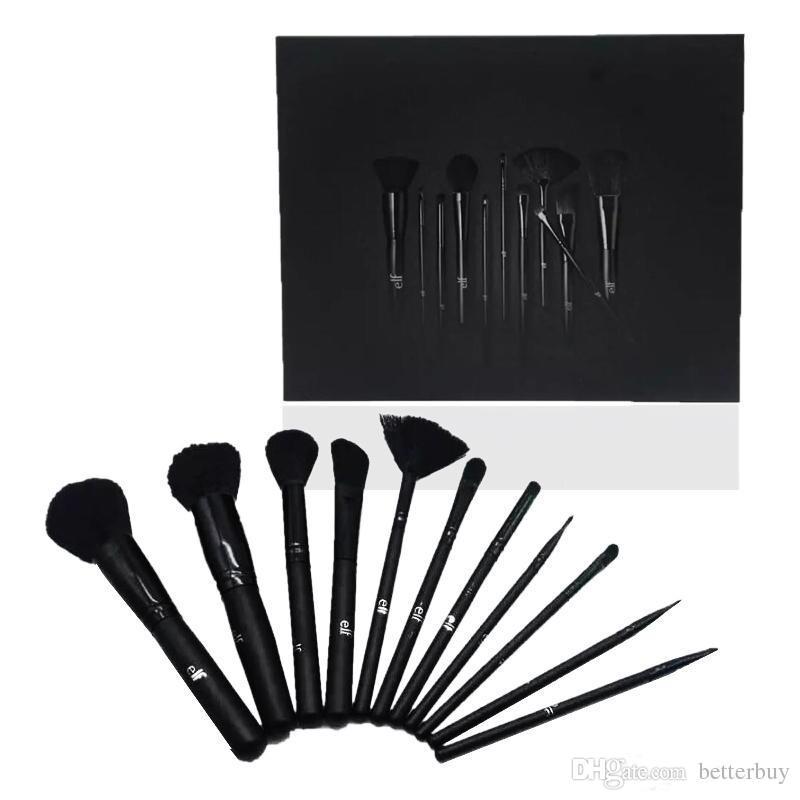 ELF Makeup Brush Set Face Cream Power Foundation Brushes Multipurpose Beauty Cosmetic Tool Black Brushes Set with Box High Quality