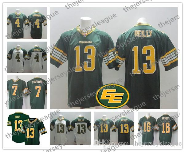 quality design 6711e 1c00e CFL Edmonton Eskimos Custom Any Name Any Number Best Quality Stitched Green  White Personalized #13 Mike Reilly Football Jerseys S-4XL