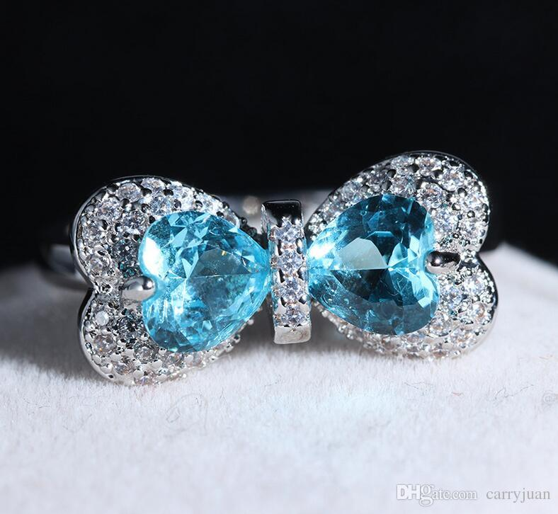 Size 6-10 Top Selling Luxury Animal Handmade Jewelry 925 Sterling Silver Blue Sapphire CZ Diamond Women Wedding Bow Butterfly Band Ring Gift
