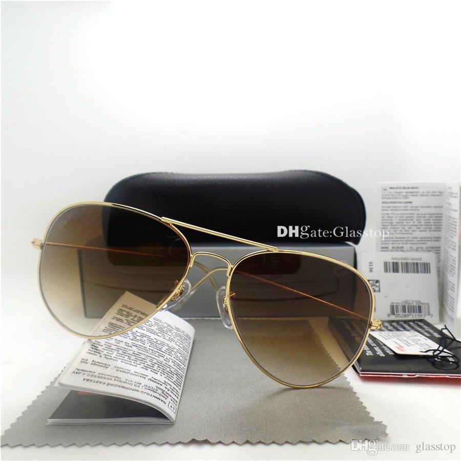 최고 품질 유리 렌즈 파일럿 빈티지 안경 남성 여성 선글라스 UV400 브랜드 디자인이 58mm 62MM 남여 미러 태양 안경 나은 케이스 스티커