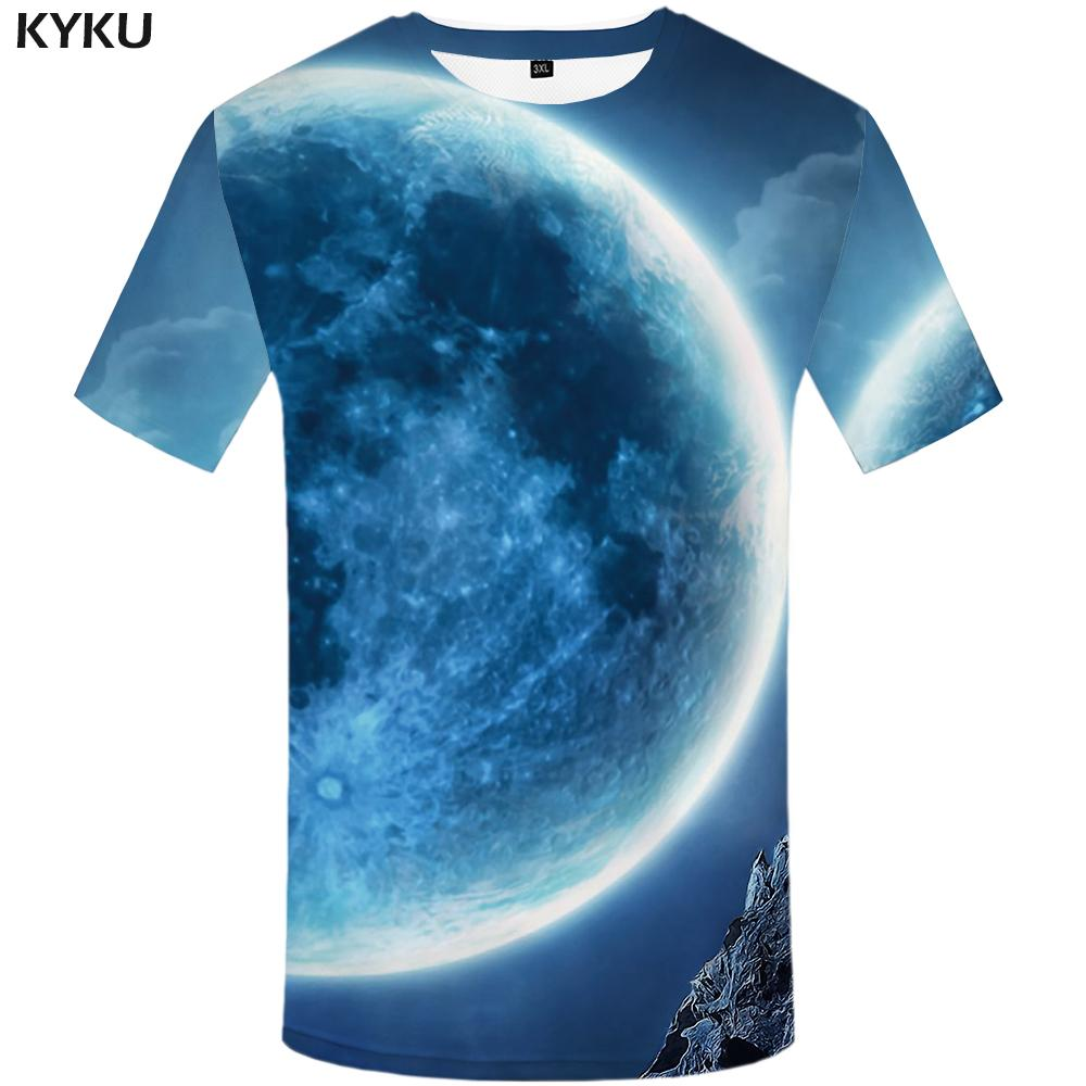 KYKU Brand Wolf T shirt Galaxy T-shirt Animal Clothing Tops Tees Tshirt Men Short Sleeve Casual Cool Japanese