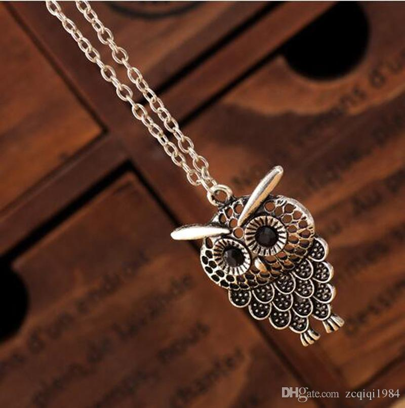 Mode Femmes Hibou Pendentif Neclace Long Animal Sweater Chain Bijoux Femme Or Antique Argent Bronze Collier