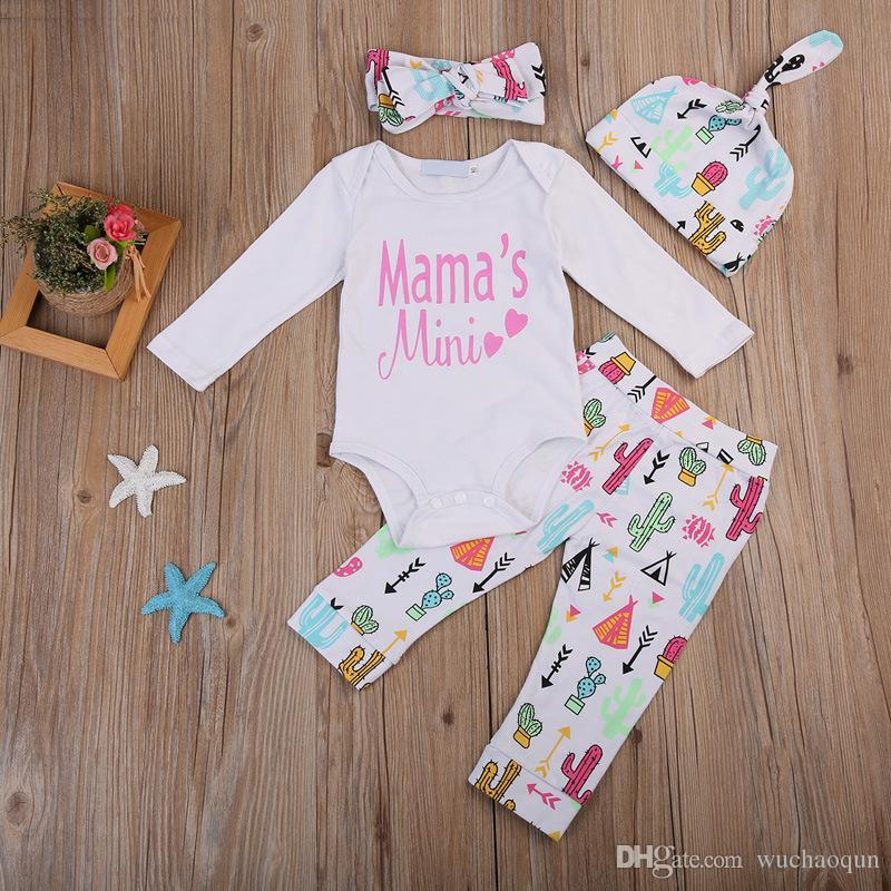 9b7fa09be58d Newborn Baby Girl Cactus Romper Pants Headband Hat Set Outfits Mama Mini  Letter Print Baby Clothes Kid Girls Clothing Boutique 0 24M UK 2019 From ...