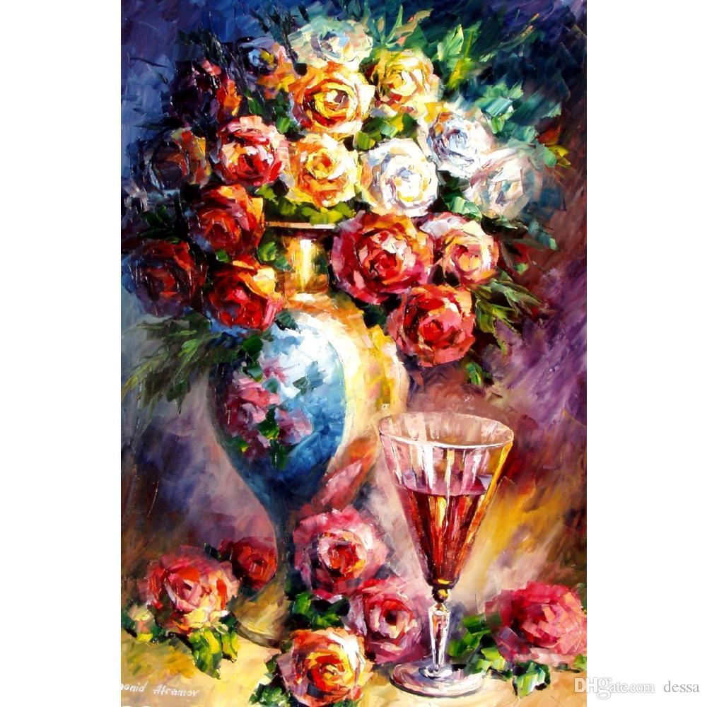 2018 Handmade Colorful Paintings Leonid Afremov Roses Modern Art ...