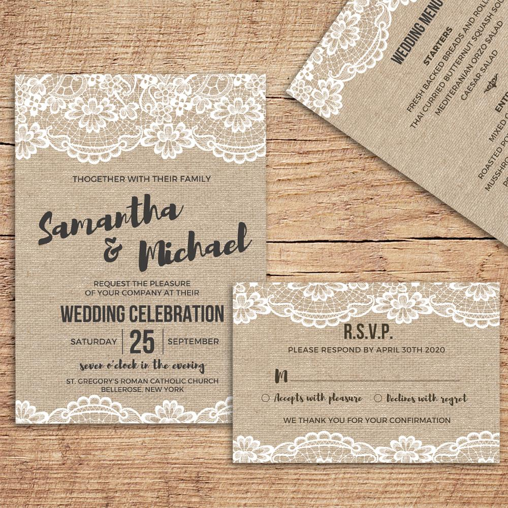 Wedding Invitations With Envelope Vintage Invitations Cards Rsvp
