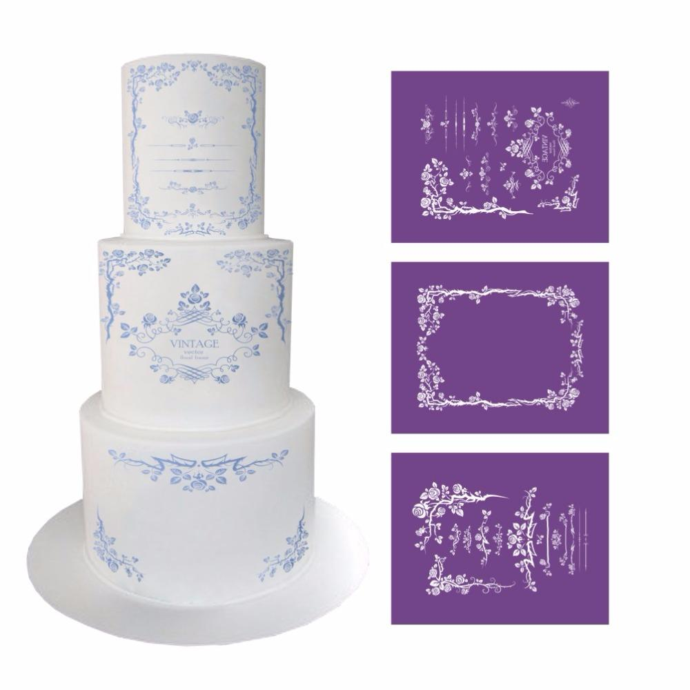 Elegant Flower Lace Stencil For Cake Design Fondant Wedding Cake