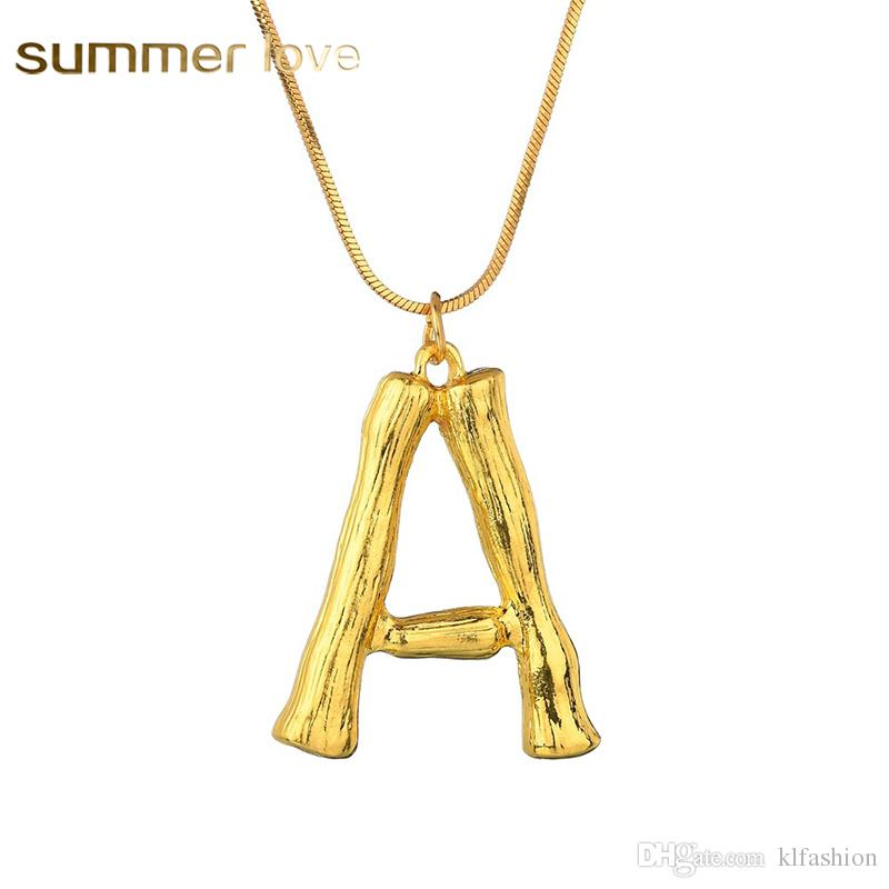 Fashion 26 Inital Letter Name Bamboo Pendants Necklace for Women Gold Color A-Z Alphabet Snake Chain Necklace Jewelry Wholesale
