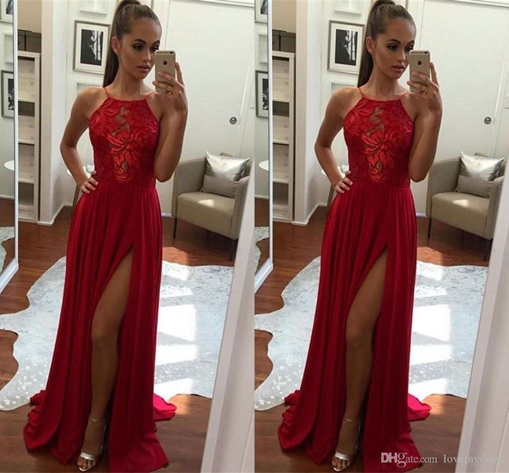 Cheap Halter Top Evening Dresses Long 2019 Sexy High Side Split Lace  Chiffon Prom Gowns Formal Dresses Women Open Back Party Dress Evening Dress  Formal ... 7420d3e8034f